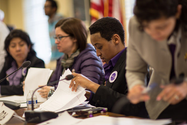 Group dons purple for capital murder hearing